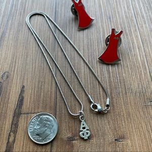 Jewelry - Alpha Phi lavalier + red dress pins